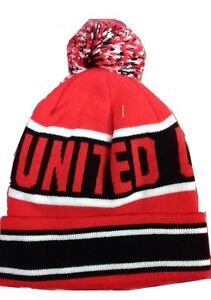 Uomo Pom Bobble Wooly United A Rosso Cappello Stile Beanie Utd rSrTn