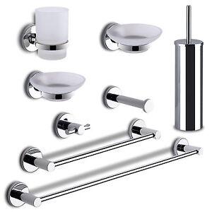 Accessori bagno set 8 pz gedy felce cromato vetro satinato montaggio senza fori ebay - Montaggio accessori bagno ...
