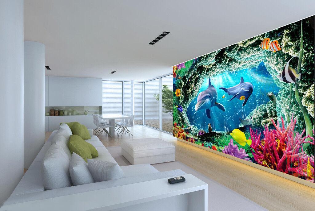 3D Ozean Riff Delphin 57 Tapete Tapeten Mauer Foto Familie Tapete Wandgemälde DE