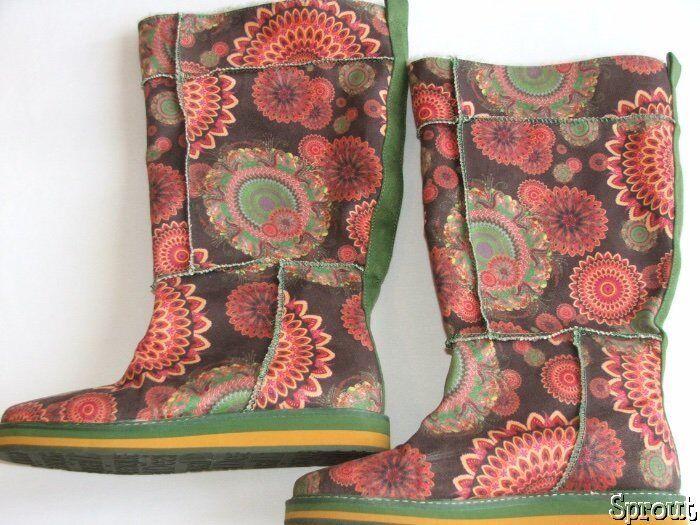 DESIGUAL Fall boho boots 39 8 brown green orange EUC Beautiful Autumn