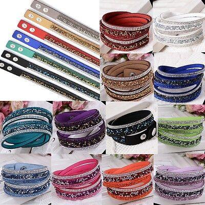 2015 Women's Crystal Cuff Tours Jewelry Bracelets Wristbands 2 Circles Bangles