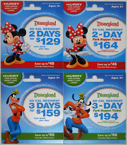 All-4-Different-DISNEYLAND-So-California-Passport-Gift-Cards-2014-Minnie-amp-Goofy