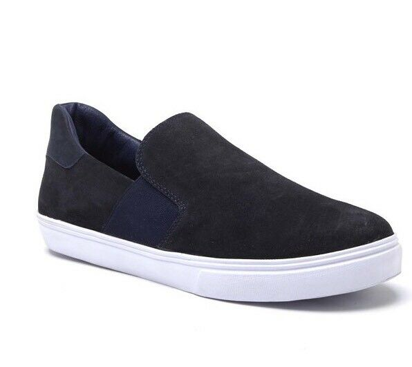 New Matisse Pelle Made In Brazil Uomo Slip Ons Loafers Shoes Suede Navy 9.5