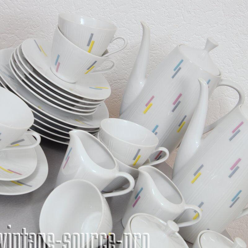 Mitterteich porcelaine service à café 28 pièces pour 6 personnes Mid Century 50er J.