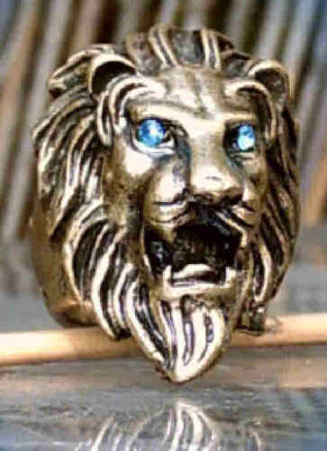Ring Lionhead Lion Bronze Colors with Blue Eyes 18 mm 17,5 mm 17 Mm