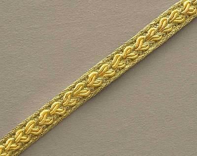 Yellow Narrow Metallic Gold Trim.Ribbon, Trimming from India. 10 Yards