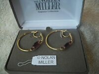 Nolan Miller Earrings Big Hoop Glamour Pierced Purple Austrian Crystals