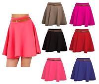 Ladies Plain Skater Belted Stretch Waist Flippy Flared Short Mini Party Skirt