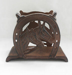 Cast-Iron-Horses-Horseshoes-Metal-Old-Style-Postcards-Tissue-Holder-Home-Decor