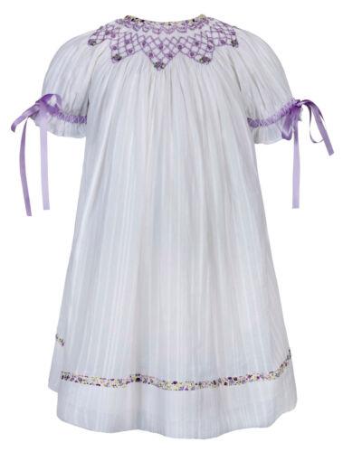 "Aurora Royal /""MAGDALENA/"" main blanche-smocks Bébé fille robe Limited"