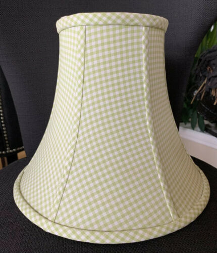 "Pottery Barn Kids Green White Gingham Fabric 12/"" Bell Lamp Shade Bedroom Nursery"