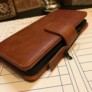 Apple-iPhone-8-Genuine-Hand-Crafted-Leather-Tan-Case-Folio-FREE-SHIPPING
