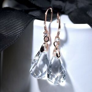 18k-rose-gold-gf-made-with-SWAROVSKI-crystal-drop-dangle-hook-earrings-sparkling