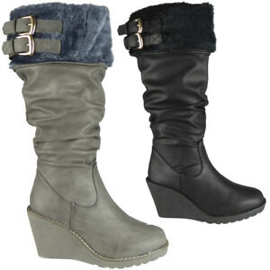 de43879edc1 Womens Ladies Mid Calf High Boots Buckle Casual Work Zip Wedge Heel ...