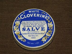 VINTAGE WHITE CLOVERINE SALVE TIN *EMPTY*