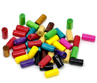 500x Mixed Tube Wood Spacer Beads Jewellery Making 12x6mm