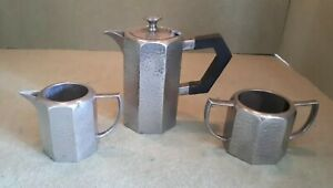 Antique-Elegant-Art-Deco-Pewter-Tea-Set