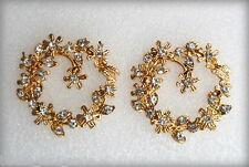 Vintage antique golden flowers & petals stud earrings/designer fashion jewelry