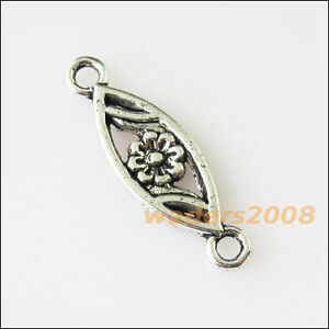 18-New-Oval-Flower-Connectors-Tibetan-Silver-Tone-Charms-Pendants-7-5x24mm
