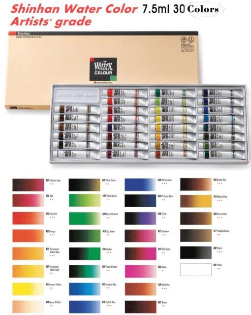 shinhan watercolors artist professional paint tubes set 30 colors