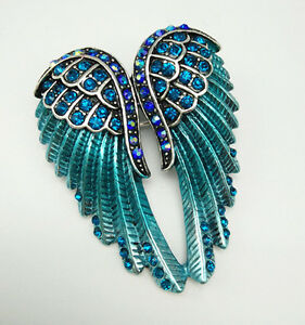 Silver-angel-wings-crystal-Brooch-pin-pendent-women-lady-girls-jewelry