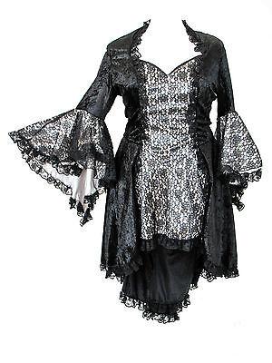 Eternal Love Plus Size Black Pewter Gothic Dress Taffeta Lace 1X 2X 3X 4X 5X