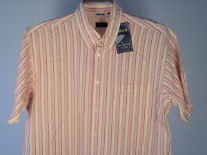 Izod-Shirt-L-Men-Camp-Short-Sleeve-SS-Yellow-White-Red-Orange-New