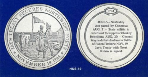 Franklin Mint Solid Bronze Medal 1794 Jay/'s Treaty Secures Northwest Forts