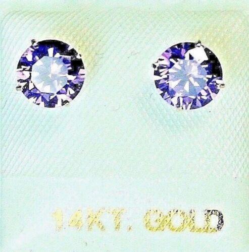 14k solide jaune//or Lab créé 6 mm Améthyste Clous Vis Arrière Boucles d/'oreilles 1.75tcw