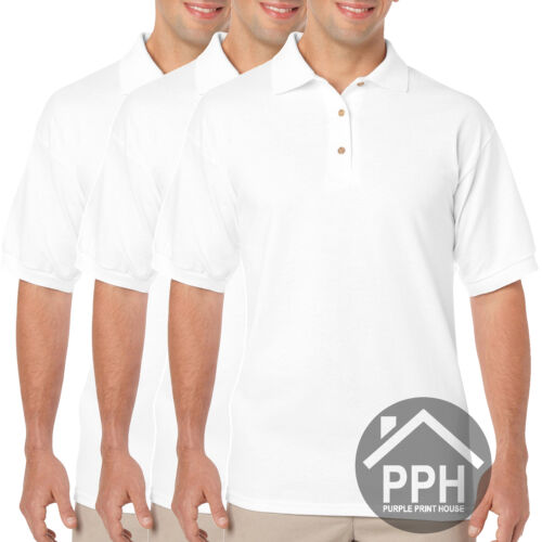 3 Pack Mens Polo Shirt Gildan Dry Blend Brand New Work Plain Wholesale All Sizes
