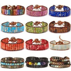 7 Chakra Natural Stone Healing Beads Bracelet Crystal Bangle Women Jewelry Gifts