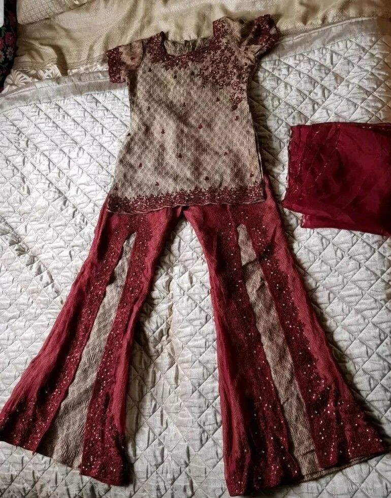 Asian Maroon & gold Open Trouser Suit Worth