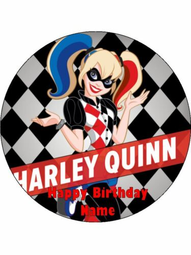 HARLEY QUINN Edible Wafer Paper Birthday Cake Decoration /& 12 Cupcake Toppers #1