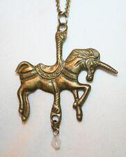 Delightful Brasstone Etch Detail Carousel Unicorn Horse Dangle Pendant Necklace