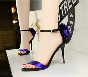 Womens-Fashion-Satin-Two-Tone-Bow-Tie-Ankle-Strap-High-Heel-Sandals-Shoes-rr33