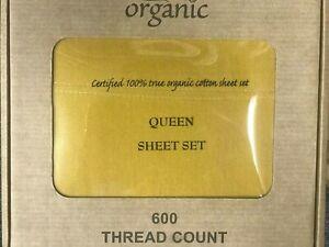 100-Organic-Cotton-4pcs-Bed-Sheet-Set-600-TC-Lemon-Yellow-Queen-Size