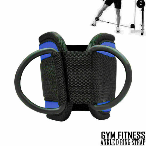 Blue Weight Lifting Ankle D Ring Straps Pully Cable Attachment Gym Leg Thigh