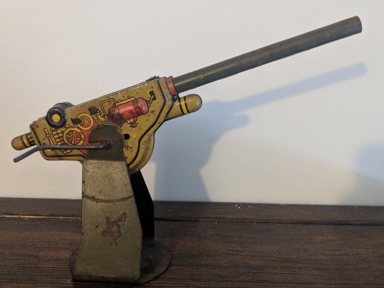 RARE Louis Marx c1940s Vintage Tin Toy Anti Aircraft Gun 105 mm