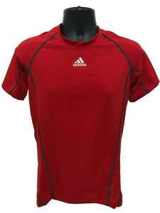 Adidas-Athletic-Climacool-Shirt-Mens-Sz-S-Small-Red-Compression-Short-Sleeve