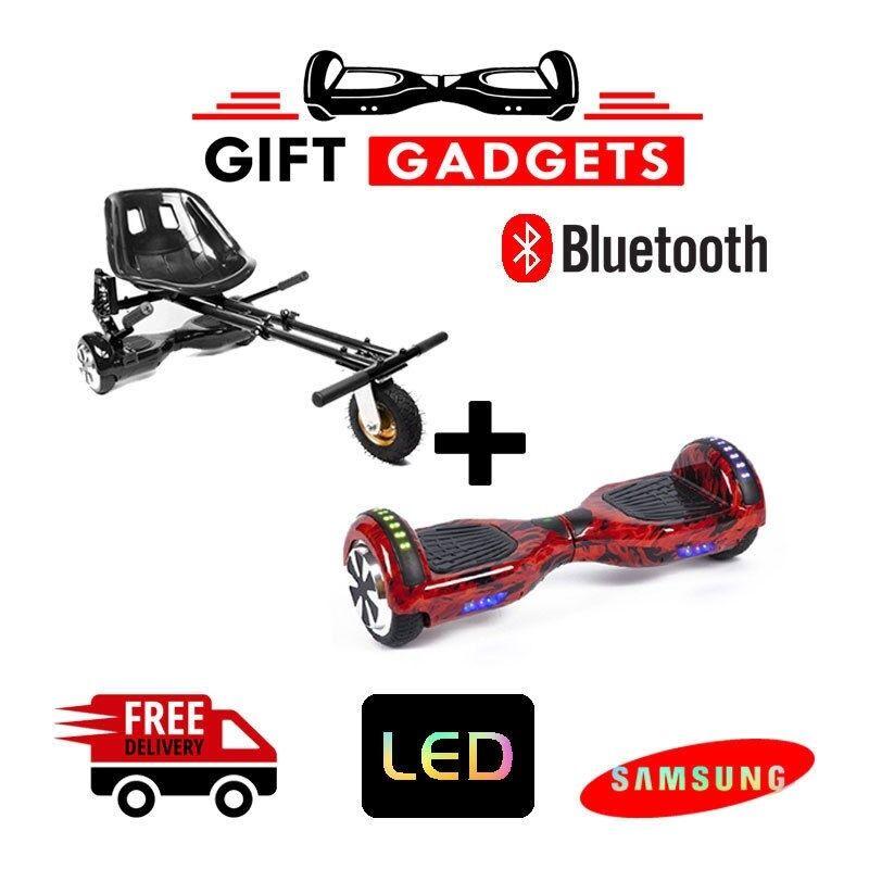 blueetooth Red Flame Self Balance Board Swegway + Suspension Hoverkart Go Kart