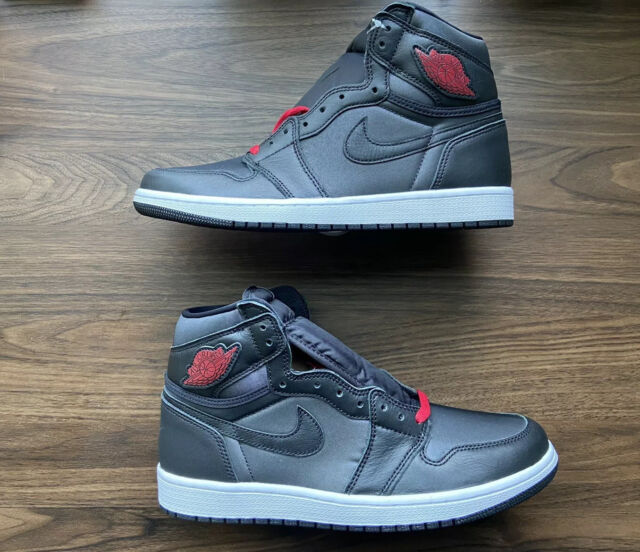Nike Air Jordan 1 Retro High OG Black Satin Gym Red Men's Size 10 555088-060