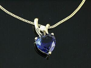 333-Gold-kleiner-Herz-Anhaenger-mit-Goldkkette-mit-Saphir-13-8-x-7-mm