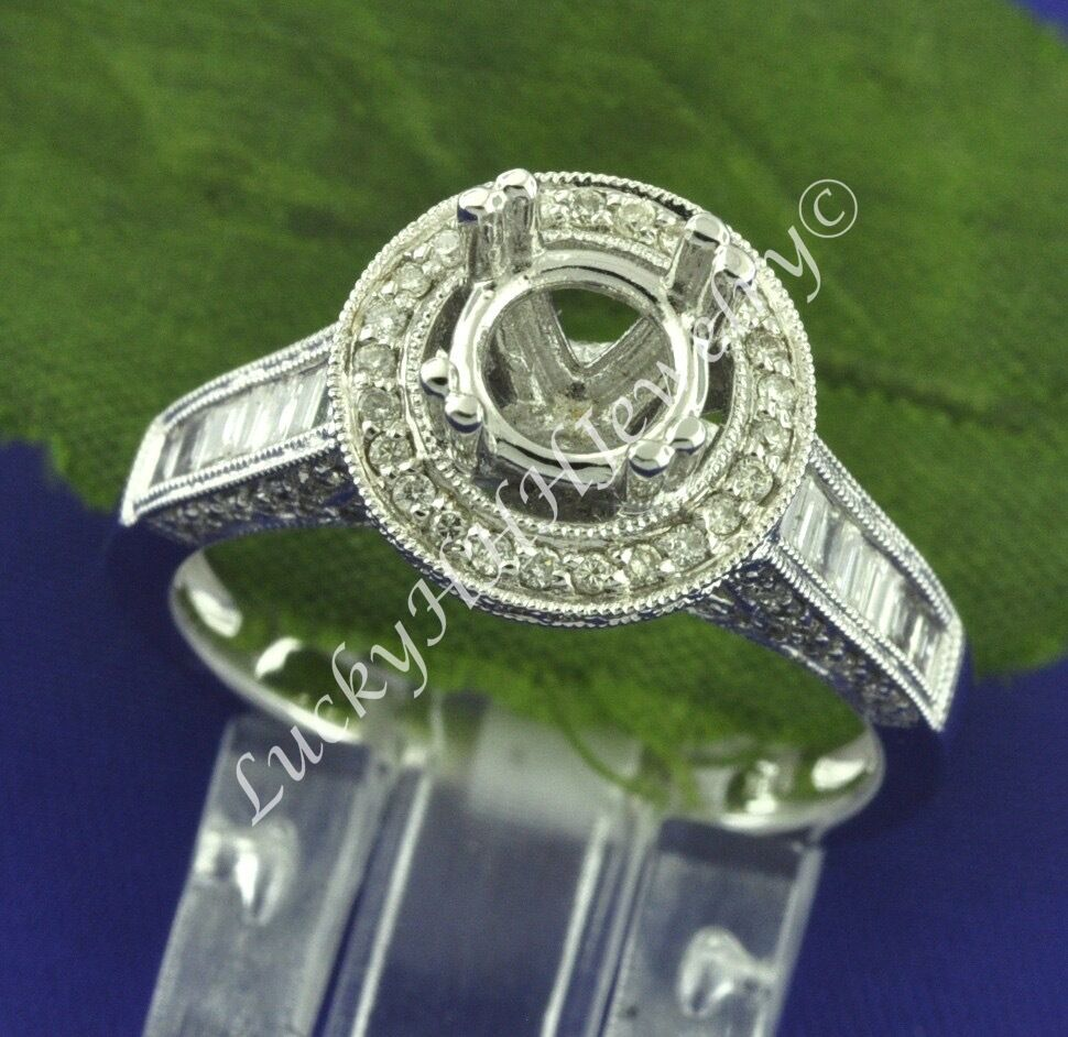 0.91 ct 14k Solid White gold Semi Mount Ladies Natural Diamond Ring baguette