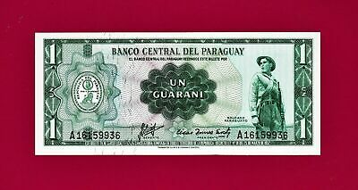 One 1 Guarani 1952 Paraguay Note - Plate A BANCO CENTRAL DEL PARAGUAY P-193a