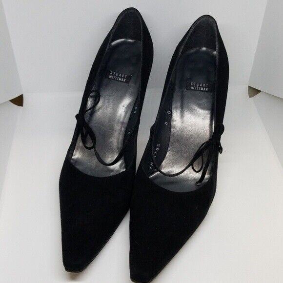 Stuart Weitzman 6w41385 Negro Negro Negro Gamuza Puntiaguda Zapato 8  diseños exclusivos