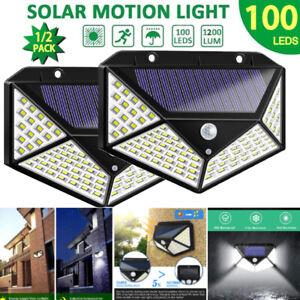 100-LED-Energia-Solar-Sensor-De-Movimiento-PIR-Luz-De-Pared-Lamparas-De-Jardin-Exterior-Impermeable