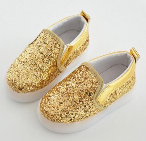 Children/'s Running Glitter Slip On Sneakers Light Girls Boys Kids Sport Shoes