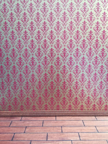 Dollhouse Miniature Jackson/'s Victorian Wallpaper Red on Gold 1:12 Scale