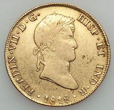 Peru 8 Escudos 1818 JP Ferdinand VII XF-AU Doubloon cob gold reales eight Lima
