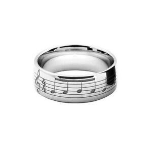Personalised Inscription Music Note 6mm Wedding Ring In Gold Or